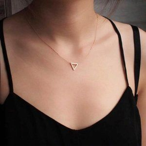 Minimalist Triangle Necklace (Gold)
